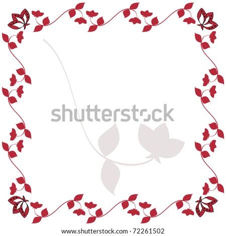 Burgundy Red Flowering Vine Border  with white space for your text.