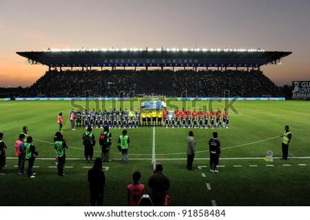 BURIRAM THAILAND-DECEMBER 31:I-Moile Stadium during Thai Premier League (TPL) between  Buriram PEA(B) and MuangThong utd (R) at I-mobile Stadium on -DECEMBER 31, 2011 Buriram Thailand