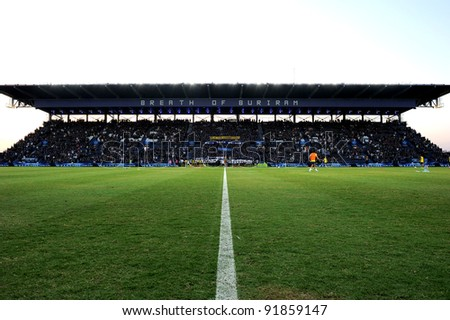 BURIRAM THAILAND-DECEMBER 31:I-Moile Stadium during Thai Premier League (TPL) between  Buriram PEA(B) and MuangThong utd (R) at I-mobile Stadium on -DECEMBER 31, 2011 Buriram Thailand