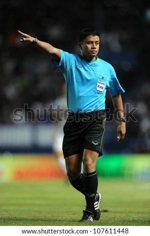 BURIRAM,THAILAND-MAY30:Referee Chaiya Mahaprab in action during  Thai Premier League between Buriram Utd.and SCG Muangthong UTD.at I-mobile Stadium on May 30,2012 in Thailand