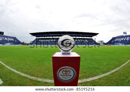 BURIRAM THAILAND-SEP21: Ball of Toyota League Cup on podium in match between Buriram PEA(B) and Chonburi Fc(G) at I-mobile Stadium on September21, 2011 Buriram Thailand - stock photo