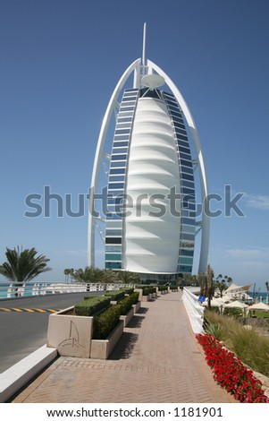 Burj al Arab hotel viewed from road to hotel