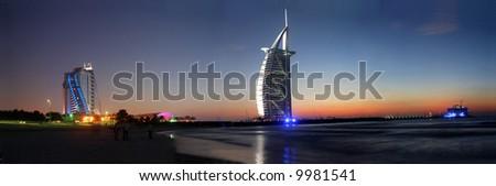 Burj Al Arab, Jumeirah-Beach, at sunset, Dubai