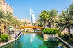 Burj al Arab seen from Madinat Jumeirah hotel in Dubai, UAE