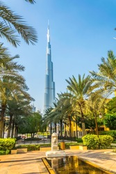 Burj Khalifa standing over the Palace Downtown Dubai hotel in the UAE