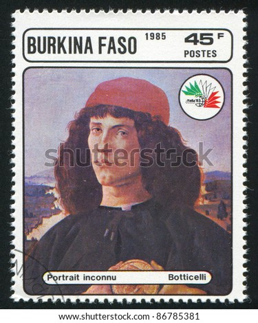 BURKINA FASO - CIRCA 1985: stamp printed by Burkina Faso, shows Portrait of a Man, Botticelli, circa 1985