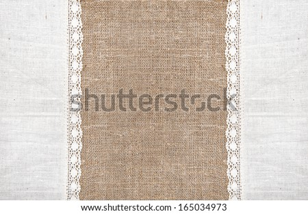 Burlap background and linen lacy cloth