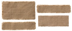 Burlap Fabric Label Pieces, Rustic Hessian Patch, Torn Sack Cloth Isolated over White