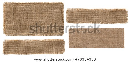Burlap Fabric Label Pieces, Rustic Hessian Patch, Torn Sack Cloth Isolated over White - Shutterstock ID 478334338