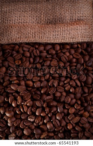 Burlap hessian sack of roasted coffee bean