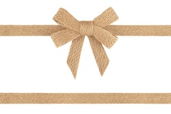 Burlap jute ribbon bow isolated on white background