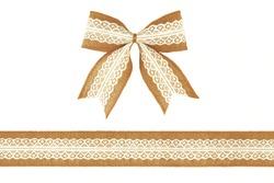 Burlap ribbon bow with white lace isolated on white background
