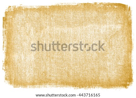 burlap rough fabric background frame textured material tan brown country farm bag edges masked aged imprint old wrap wrapping package stained fringe frayed edge