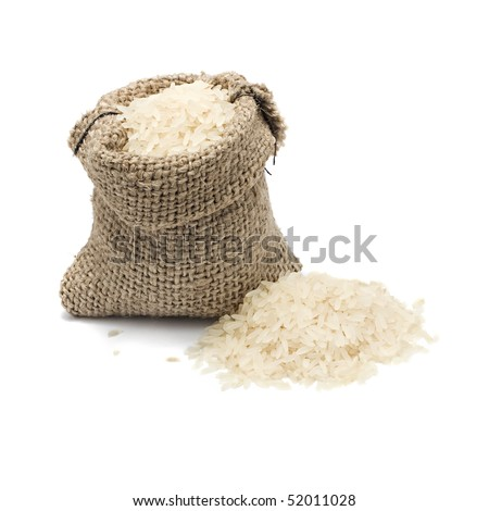 burlap sack with chinese blanched rice spilling out over a white background