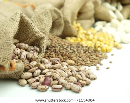 Burlap sacks with  legumes
