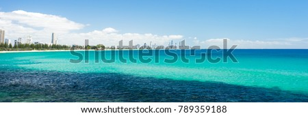 Burleigh Heads on a clear day looking towards Surfers Paradise on the Gold Coast #789359188