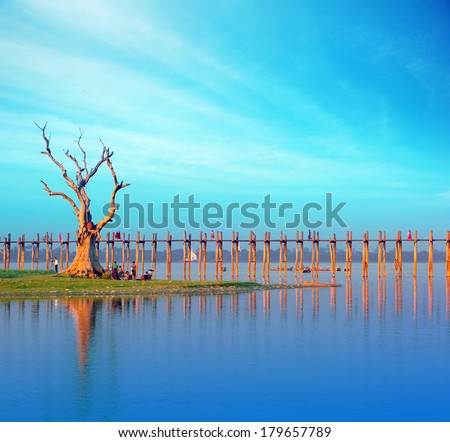 Burma Myanmar U Bein teak bridge Mandalay travel tourist destination landmark