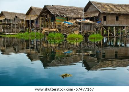 Burma (Myanmar) water houses on Inlè lake