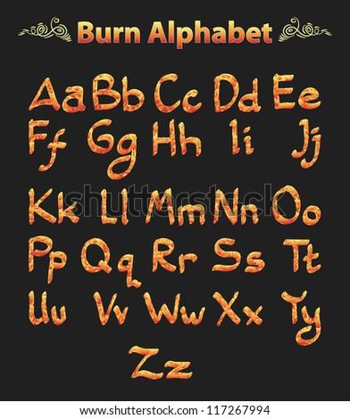burn alphabet isolated on black