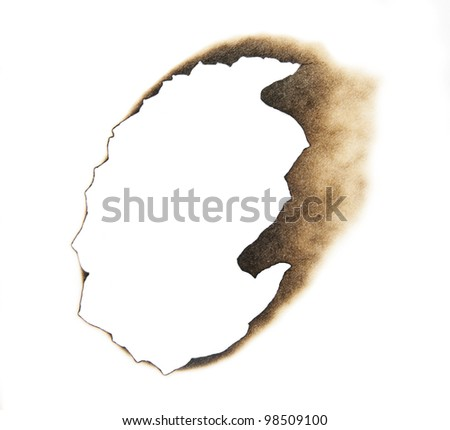 Burn hole in a piece of white paper.