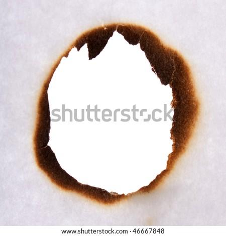 Burn hole in white paper