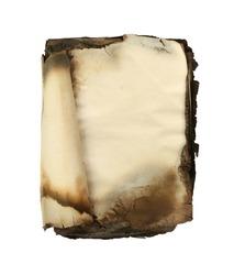 Burned book isolated on white background