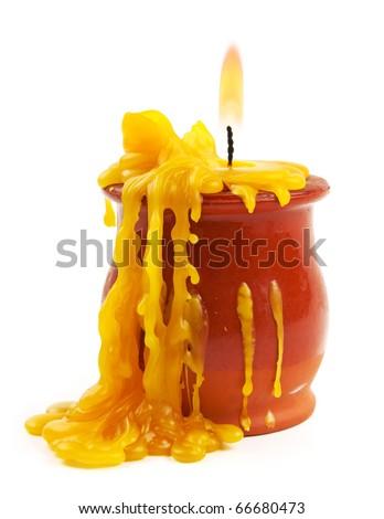 Burned candle isolated on white - stock photo