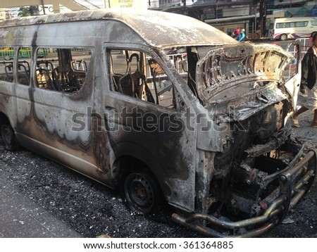 Burned car after arson #361364885