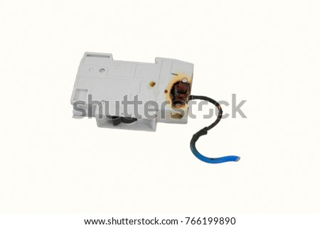 burned electrical circuit breaker, fuse box on white background  the burned  cable #766199890