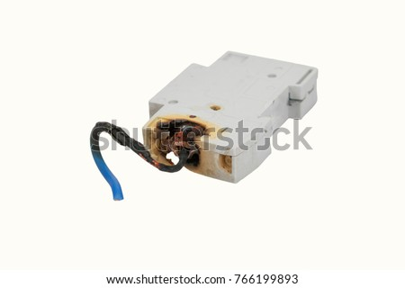 burned electrical circuit breaker, fuse box on white background  the burned  cable #766199893