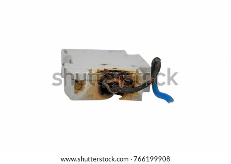 Burned electrical circuit breaker, fuse box on white background.  The burned cable
