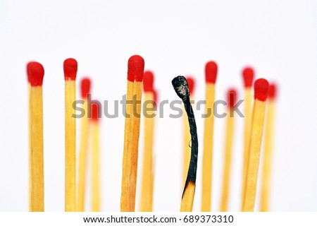 Stock Photo burned matches as a symbol for burnout