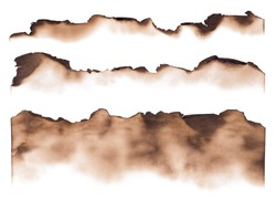 Burned paper edges isolated on white background