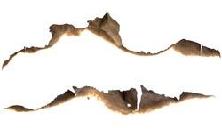 Burned paper edges set isolated on white