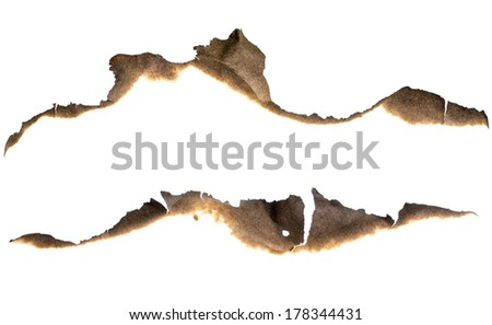 Burned paper edges set isolated on white