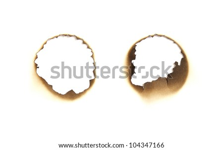 Burned paper hole