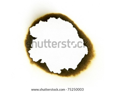 Burned paper hole