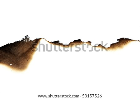 burned paper on a white background