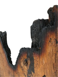 burned wood on white background,old wood after burned on white background