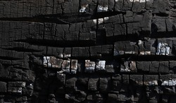 Burned wood texture. Black background