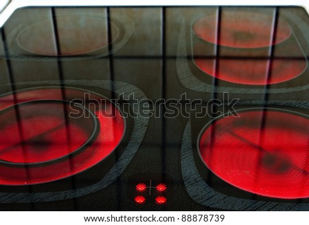 Burners of eletric oven - stock photo