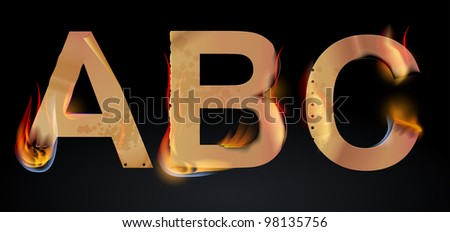 Burning ABC letters over dark, illustration