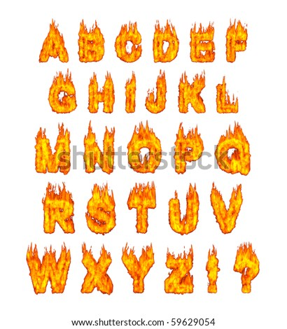 Burning alphabet letters illustration isolated on white background