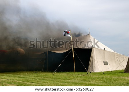 Burning army tent from world war