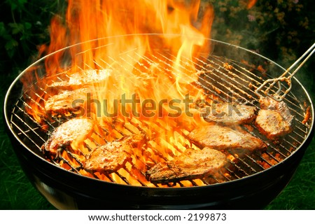 Burning barbecue