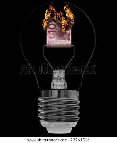 burning bill as filament in electric light bulb