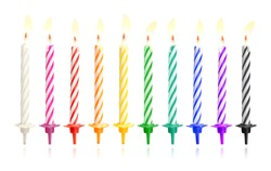 Burning birthday candles isolated on dark background with fire flames. Colorful collection. ( Clipping path )