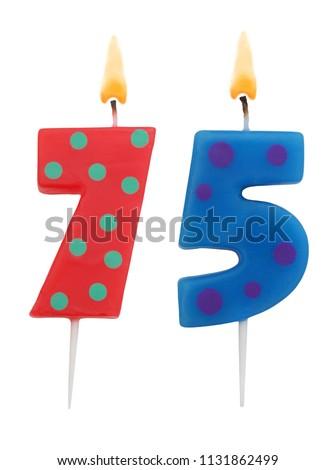 Burning Birthday Candles Isolated On White Background Number 75 1131862499