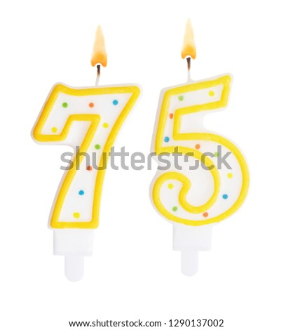 Burning Birthday Candles Isolated On White Background Number 75 1290137002