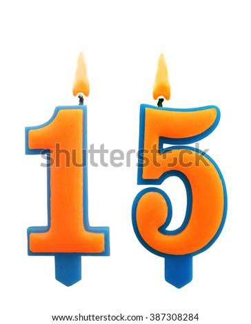 Burning Birthday Candles Isolated On White Background Number 15 387308284